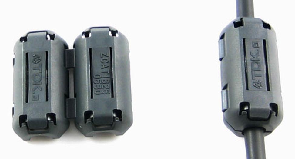 Example of a clamp ferrite (cable ferrite) [8].