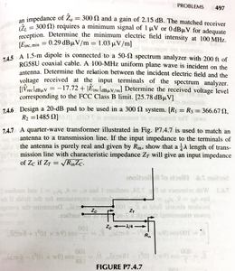 Problems about antennas [Introduction to Electromagnetic Compatibility, Clayton R. Paul]