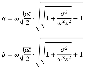attenuation costant and phase constant formula