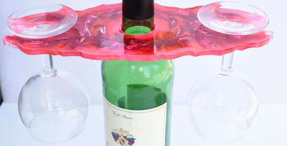 Enkel wijnhouder voor 2 glazen fushia rood marmer