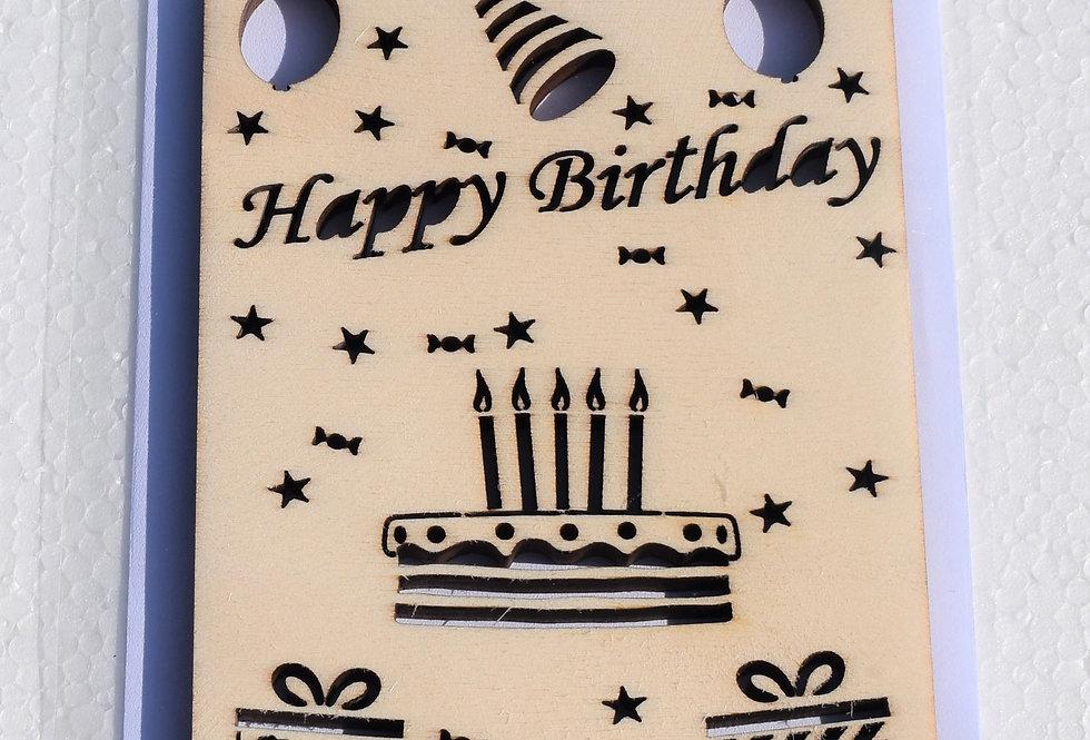 Houten verjaardagskaart gelaserd + envelop