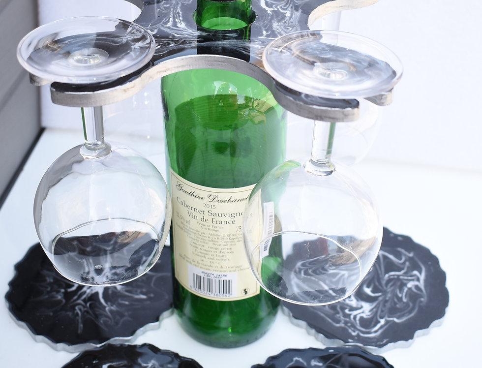 Zwart marmer 4 glazen