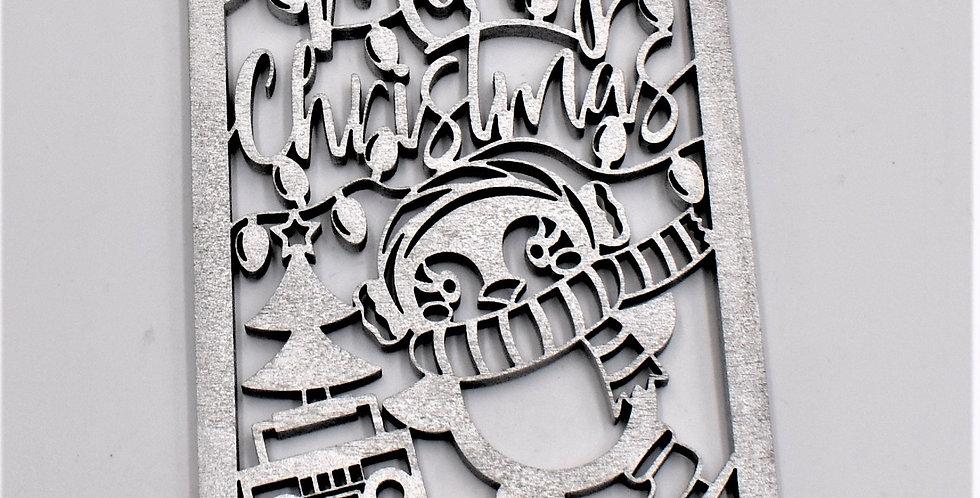 5 stuks Houten kerstkaarten gelaserd  zilver + 5 enveloppen