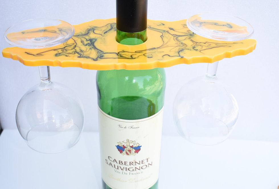 Enkel wijnhouder voor 2 glazen geel marmer
