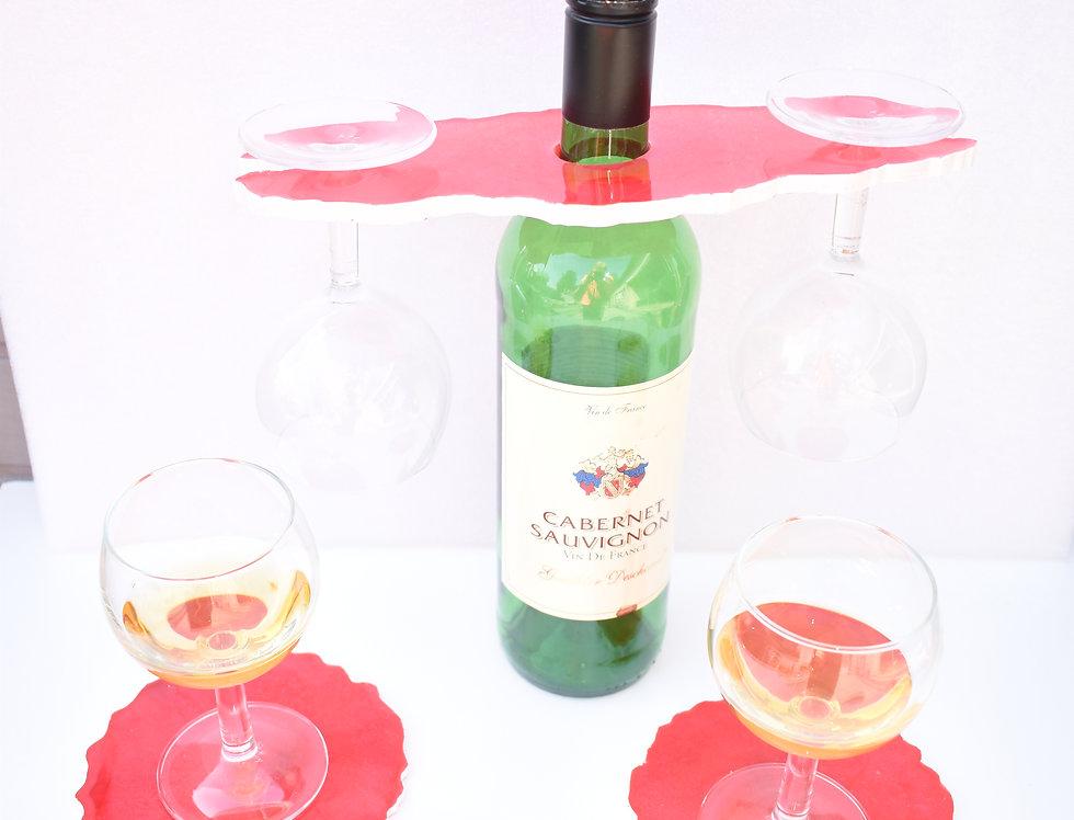 Rood met witte rand 2 glazen