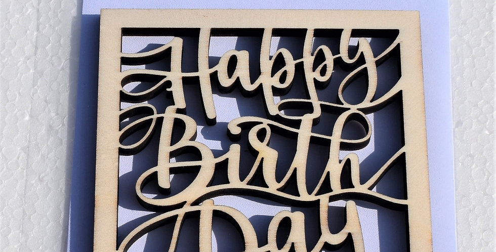 Houten verjaardagskaart tekst Happy birthday gelaserd + envelop