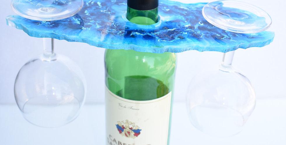 Enkel wijnhouder voor 2 glazen blauw marmer