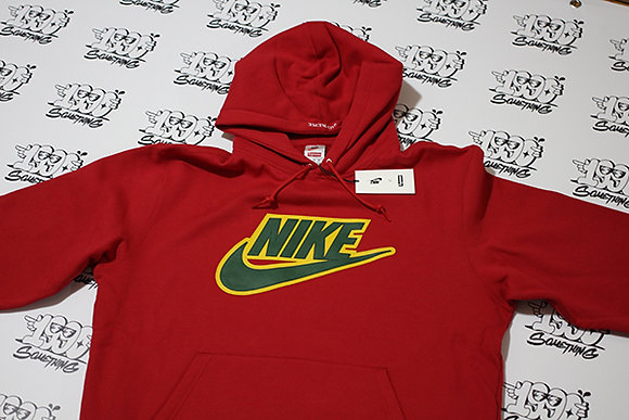 Nike Supreme Leather Applique Hooded Sweatshirt Red