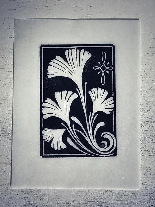 Linoprint Original 'Ginkgoblatt' DinA6 - Atelier Vaya
