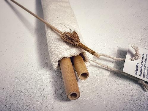 Bambus Strohhalm 2er Set mit Bürste und Baumwollsäckchen