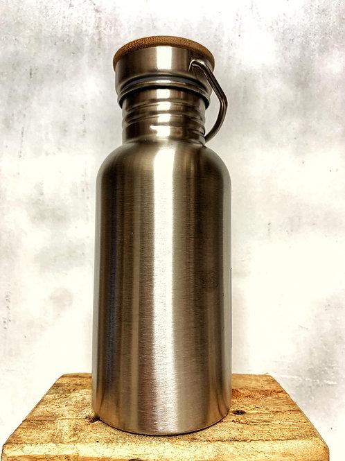 Trinkflasche aus Edelstahl mit Bambusdeckel 500ml H1237-01