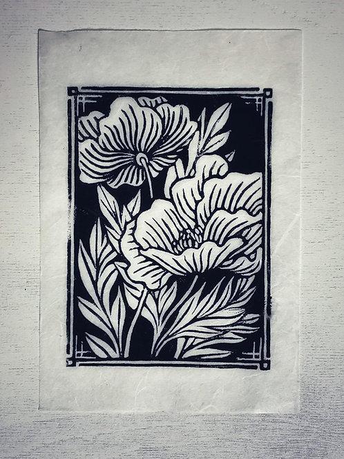 Linoprint Original 'Pfingstrose' DinA5 - Atelier Vaya