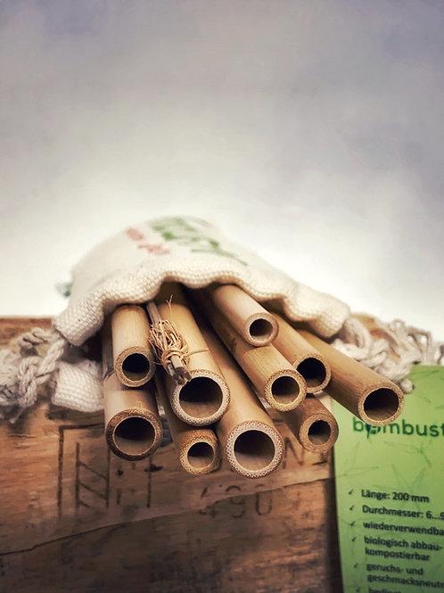 Bambus Strohhalm 10er Set mit Bürste und Baumwollsäckchen