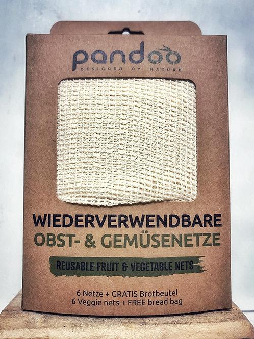 Wiederverwendbares Obst- & Gemüsenetz - 6 Stück + Brotbeutel kostenlos - Pandoo
