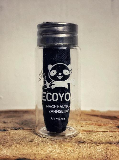 Zahnseide mit Bambus Aktivkohle im Glasflakon - 30m - EcoYou