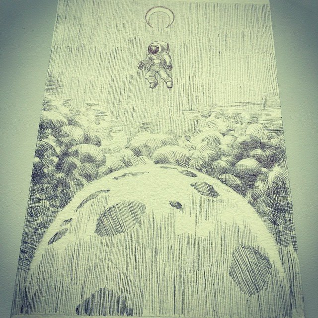 Facebook - Get lost #space #lostinspace #drawing #sketch #illustration #penandink #crosshatch #plane