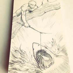 Facebook - Snack Attack #shark #drawing #sketch #illustration #penandink #sketchbook #chicken #drums