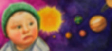 child in the cosmos, planets, space