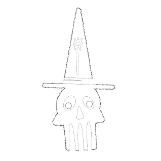 skull in witch hat