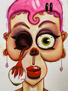 zombie pinup girl without eyeball