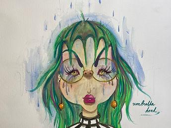 umbrella lady, colorful lady, rainy day
