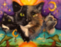 cats in space, day and night, space cats, witchy cats