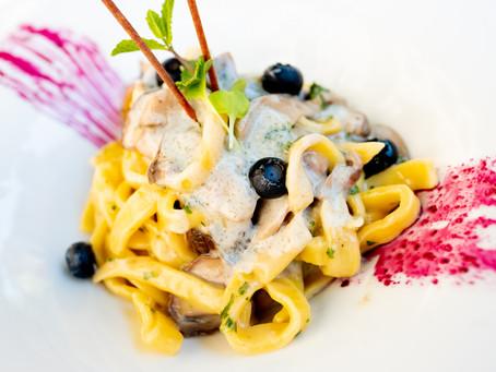 Wild Mushroom Blueberry Pasta, Osteria La Piazzetta Dell'Erba, Assisi