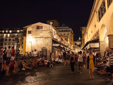 Night stroll on Ponte Vecchio, Florence