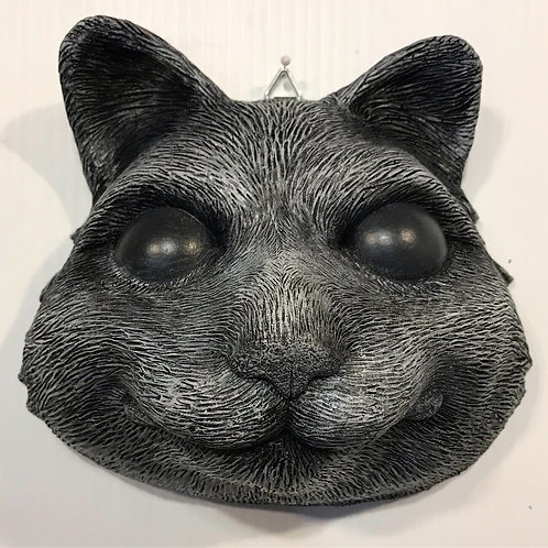 BLACK CAT MASK WITH WHITE DETAILS