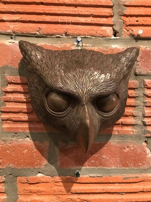 COLD CAST BRONZE OWL MASK