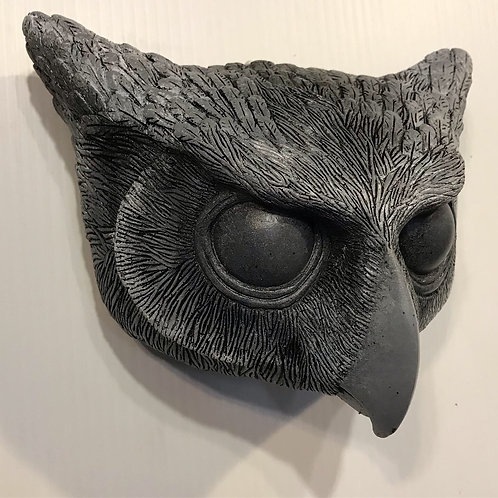 BLACK OWL MASK WITH WHITE DETAILS