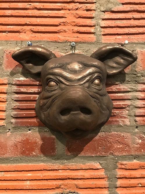 COLD CAST BRONZE PIG MASK