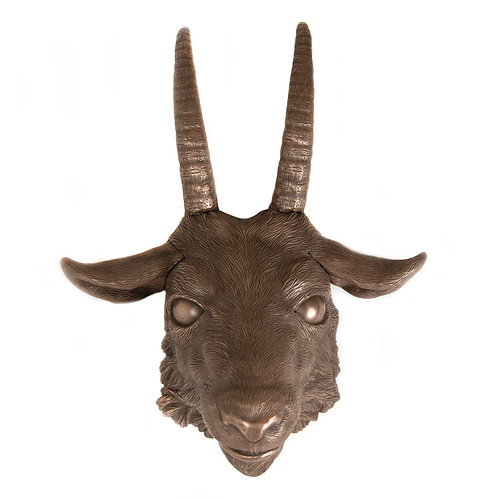 COLD CAST BRONZE GOAT MASK