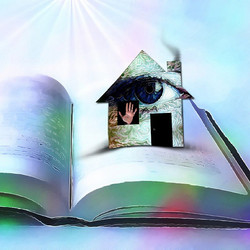 A house with an eye on page of novel