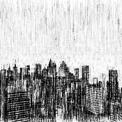 City while rain