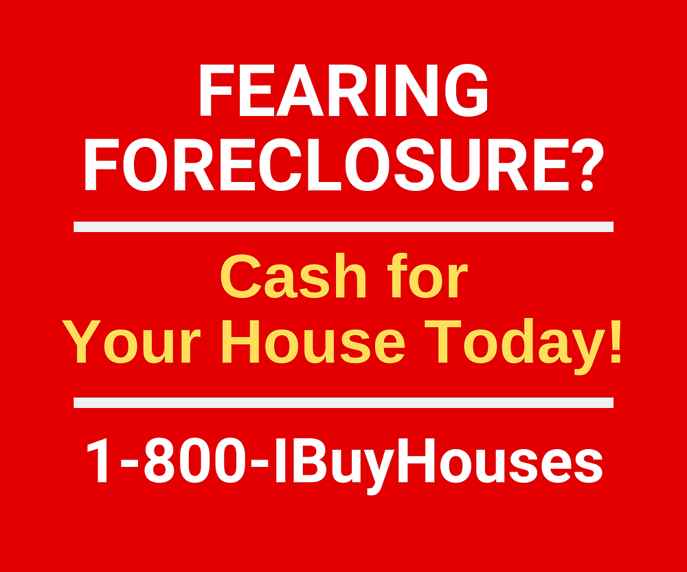Infographic of I Buy Houses foreclosure sign.