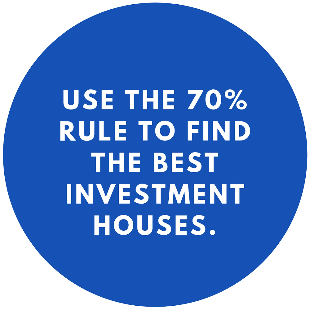 Infographic quote on the 70% Rule in real estate investing.
