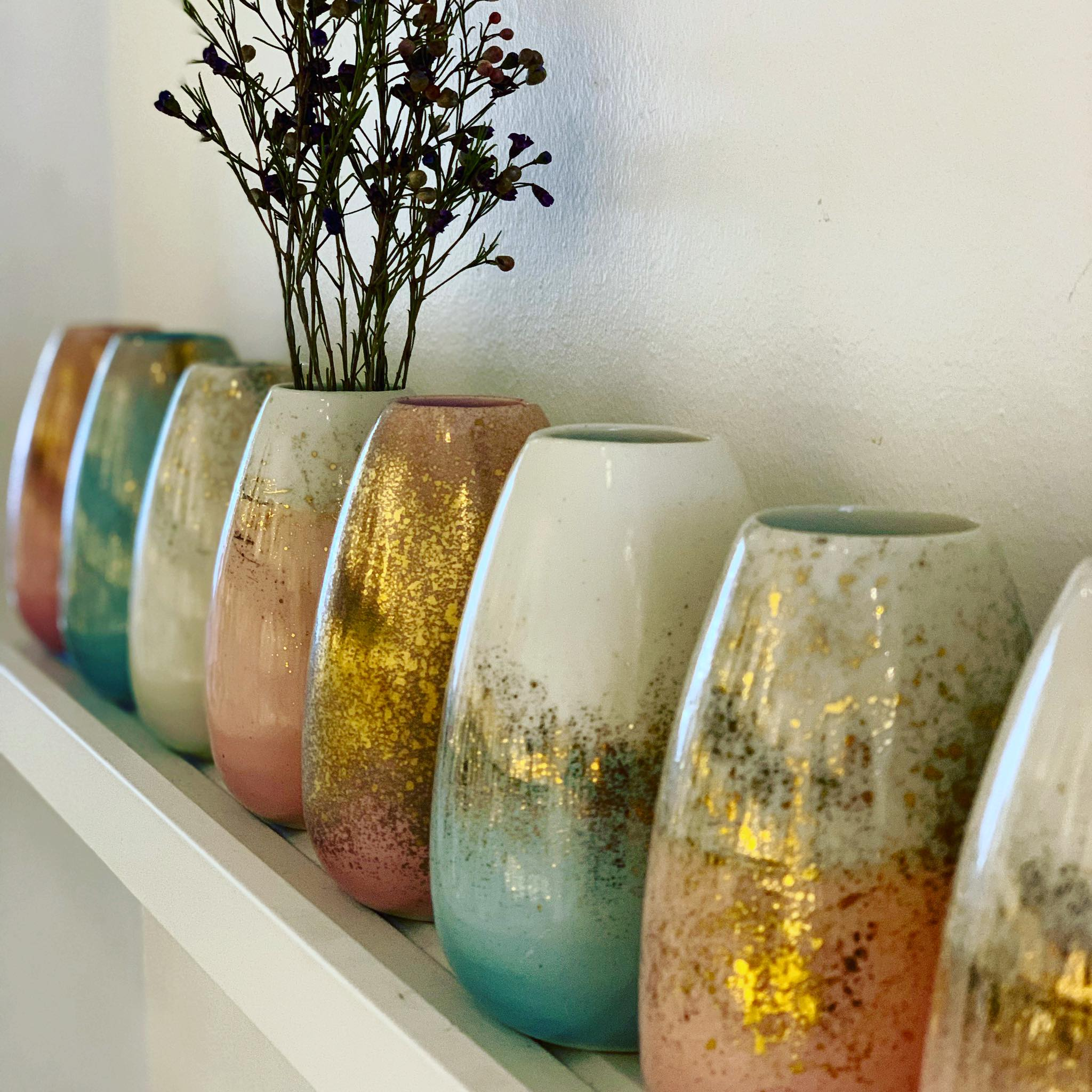 pastel colored vases by dagny