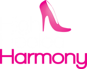 High Heeled Harmony Logo - white pink.pn