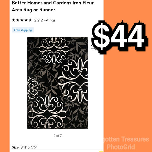 "Better Homes Iron Fleur 3'11"" x 5'5"" Black Area Rug"