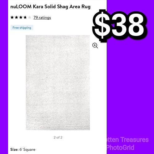 nuLoom Kara White 6' Square Solid Shag Area Rug