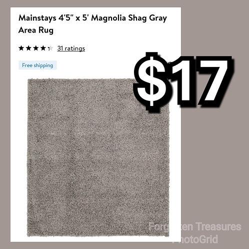 "Mainstays 4'5"" x 5' Magnolia Gray Shag Area Rug"