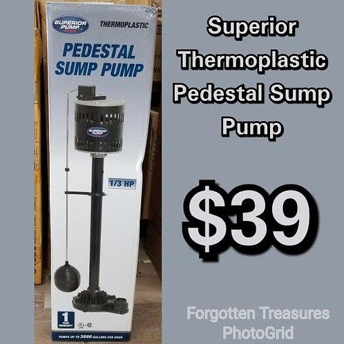 Superior Pump Pedestal Thermoplastic 1/3 HP 3000 Gallons Per Hour Sump Pump