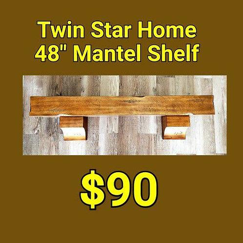 "Twin Star Home 48"" Mantel Shelf: Boardwalk Birch"