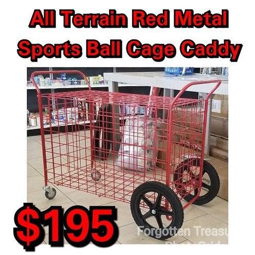 All Terrain Wheel Red Metal Sports Ball Locker Cart