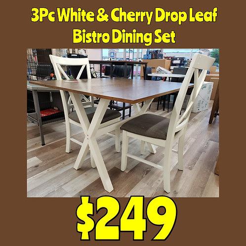 White & Cherry 3 PC Drop Leaf Bistro Dining Set