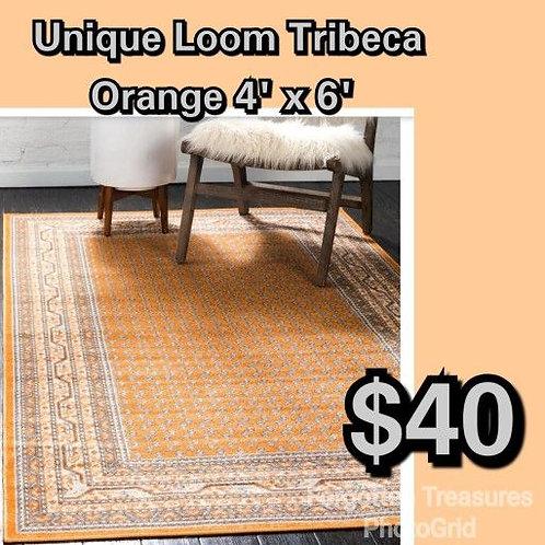Unique Loom Tribeca Soho 4' x 6' Orange Area Rug