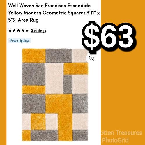 "Well Woven San Francisco Escondido Yellow Modern Geometric Squares 3'11"" x 5'3"""