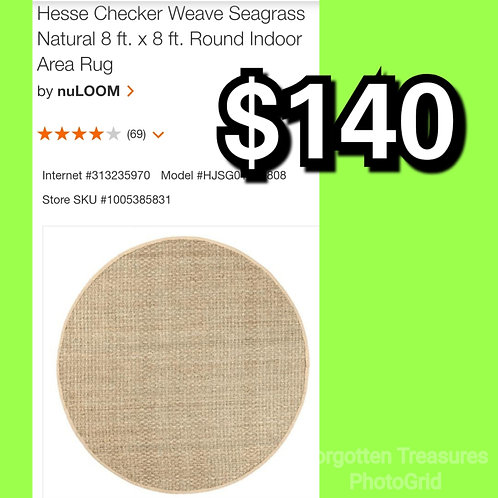 Checker Weave Natural Seagrass 8' Round Indoor Area Rug