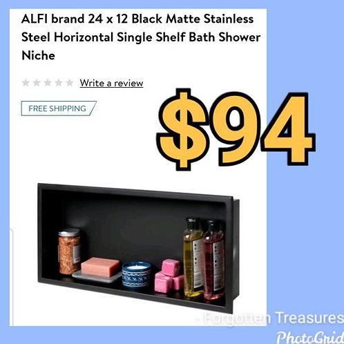 "ALFI 24"" x 12"" Matte Black Stainless Steel Horizontal Single Shelf Shower Niche"